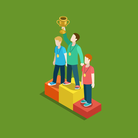 first place: Sports trophy rating award winner concept flat 3d web isometric infographic vector. Three men on place pedestal, first place rising hand with gold cup. Creative people collection.