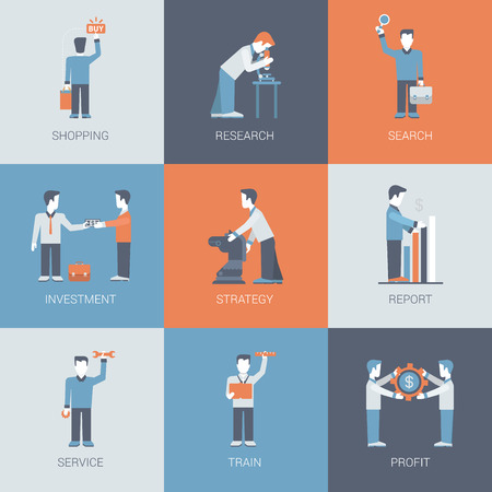 situations: Online business shopping people figures situations concept flat vector icon set. Search, research, investment, strategy, report, service and profit. Flat conceptual web site infographics collection.