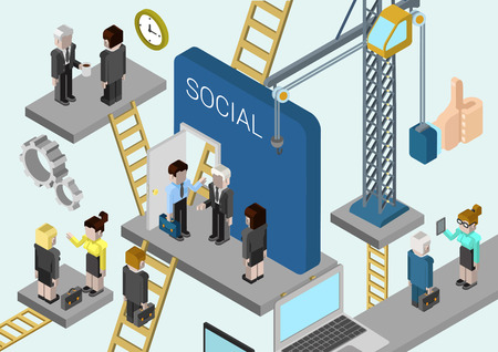 culture: Flat 3d isometric corporate business creation, building a company, promotion in online social media web infographic concept vector. Crane, ladders connecting platforms with business people. Illustration