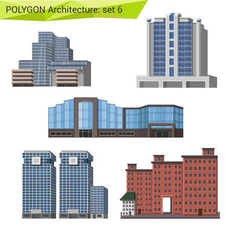 commercial building: Polygonal style commercial property set. City design elements.  Polygon architecture collection. Illustration