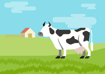 cow vector: Cow spotted farm habitat background flat design cartoon vector animals. Flat zoo nature children collection. Illustration