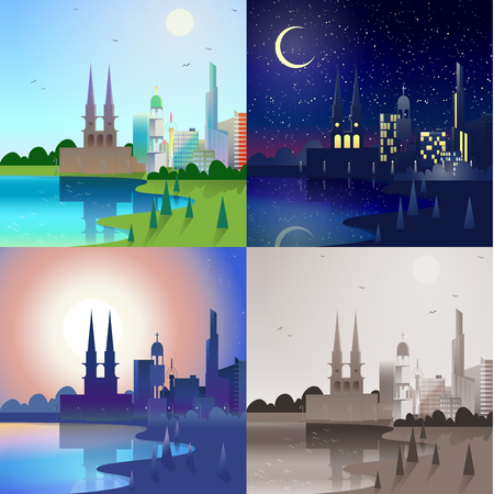 river bank: Flat modern city scape historic castle tower building skyscrapers river bank scene set. Stylish web banner landscape collection. Daylight, night moonlight, sunset view, retro vintage picture sepia.