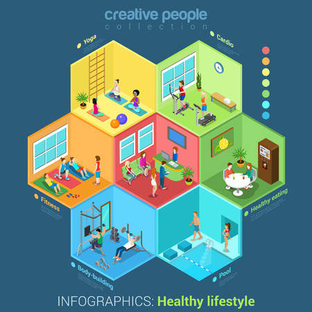Flat 3d isometric fitness center sport club abstract interior room cell workers staff concept vector. Healthy lifestyle concept. Creative people in cells collection.
