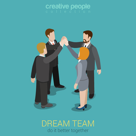 Dream team teambuilding togetherness flat 3d web isometric infographic business work concept vector template. Four businesspeople join hands to make a deal. Creative people collection. Çizim