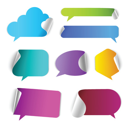Stylish chat call out box border page curl vector web element icon set. Different style of conversation colorful internet design elements.