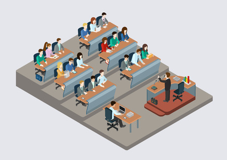 ENTRENANDO: Formación empresarial concepto de educación plana 3d web isométrica vectorial infografía. La gente en la escucha auditiva para dar conferencias maestro. Colección de la gente creativa.