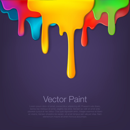 Multicolor paint dripping on background. Stylish acrylic liquid layered colorful painting concept. Vettoriali