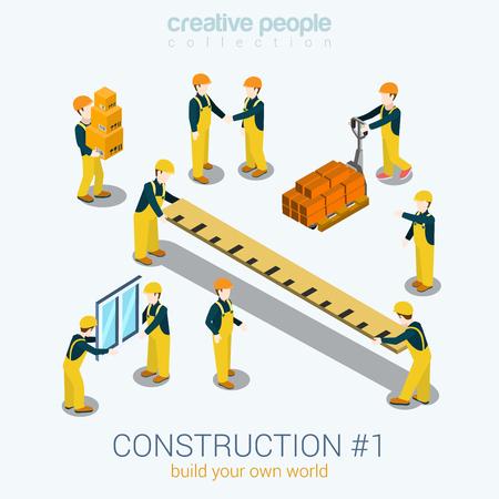 건설 업체 사람들은 플랫 3D 웹 아이소 메트릭 인포 그래픽 개념 벡터를 설정합니다. 노란색 유니폼 건물 생성자 작업자 직원 벽돌 상자 통치자 창. 당 일러스트