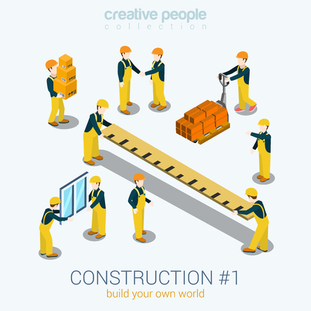 Construction builders people set flat 3d web isometric infographic concept vector. Yellow uniform building constructor worker staff brick box ruler window. Build your world creative people collection. Illustration