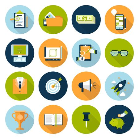 chat icons: Flat web infographic icon set. Online business, digital marketing, strategy management planning, research, promotion, e-commerce, technology, internet concept icons. Checklist, phone chat and savings.