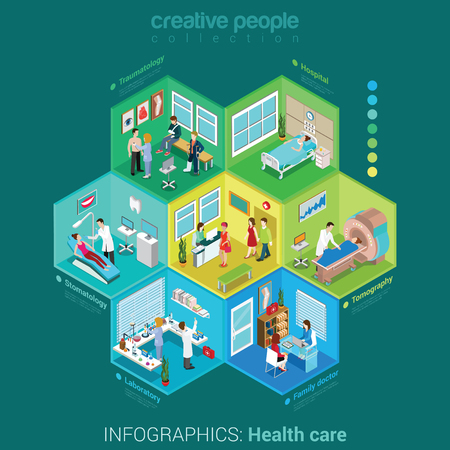 healthcare: Flat 3d isometric health care hospital laboratory family doctor nurse infographic concept vector. Abstract interior room cell patient customer client visitor medical staff. Creative people collection.