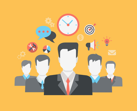 Flat style modern web infographic corporate human relations (HR), teamwork, workforce, team, time and staff management concept. Group of young businessmen and creative icon set collage.