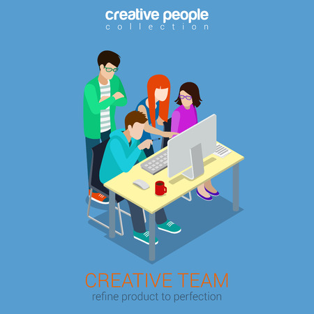 Brainstorming creative team people flat 3d web isometric 일러스트