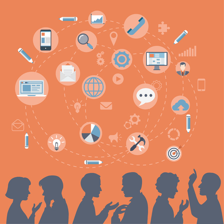 Flat style modern business people silhouettes brainstorming, meeting, gossip, social media content concept web vector. Talking couples businessman businesswoman and icon set collage.
