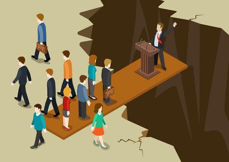 Democracia concepto de sistema político plana 3d web infografía isométrica. Tribuna Política sobre abismo electorado vota sympathique deja el colapso desequilibrio bord. Gobierno creativa colección social. Ilustración de vector