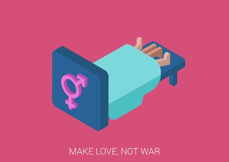 Vlakke stijl 3D isometrische vector illustration concept voor het maken van liefde, geslacht, sociale media vergadering en dating. Paar seks onder deken op bed met gameten teken hoofdeinde. Make love, not war!