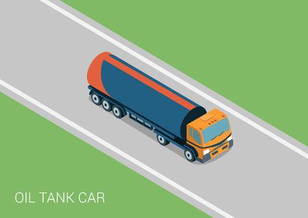 tank car: Oil petroleum transportation tank car tanker flat 3d web isometric infographic concept vector. Petroleum collection. Illustration