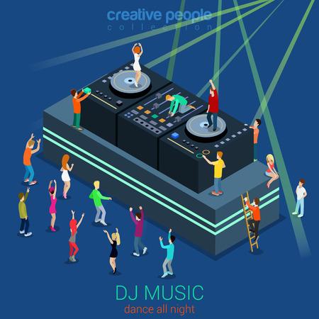 Night club danse cabine de DJ parti plat 3d isométrique web template vecteur concept infographie. Groupe de jeunes filles dansant hommes scène avant et sur les équipements dee-jay. Creative collecte de personnes. Vecteurs