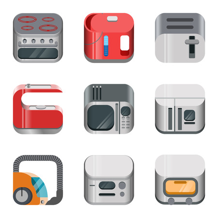 bread maker: Home electronics glossy app dashboard icon vector set. Stylish modern mobile web application collection. Oven kettle   vacuum cleaner fridge refrigerator toaster microwave machine bread maker.