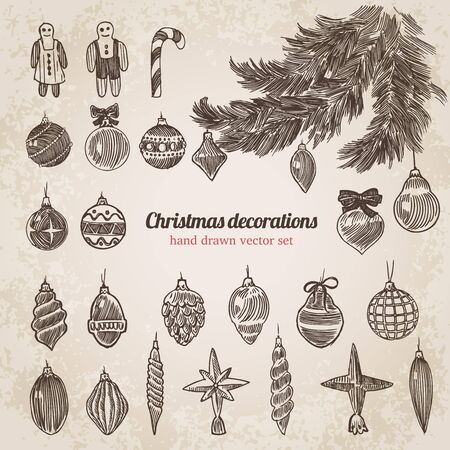 sopel lodu: Christmas tree decorations set New Year handdrawn engraving style template. Pen pencil crosshatch hatching paper drawing retro vintage vector lineart illustration. Ilustracja