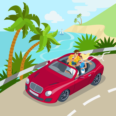 cabrio: Travel couple cabrio car flat 3d web isometric infographic concept vacation vector postcard template. Beautiful woman man drink wine backseat driving seashore island road. Creative people collection. Illustration