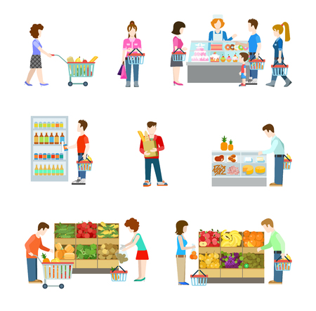 confectioner: Flat style people figures at shopping mall supermarket grocery shop shelves. Web template vector icon set. Lifestyle icons. Fruit vegetable alcohol beer cheese sausage confectioner department.