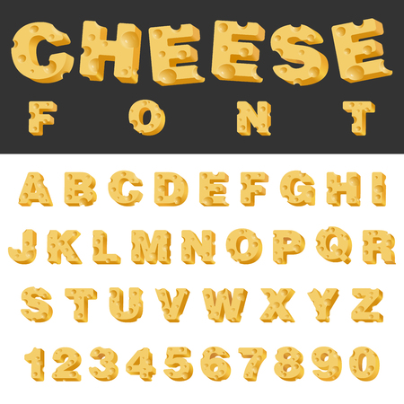 Cheese slice isolated letters and numbers latin font. Yummy food snack typeset alphabet collection.