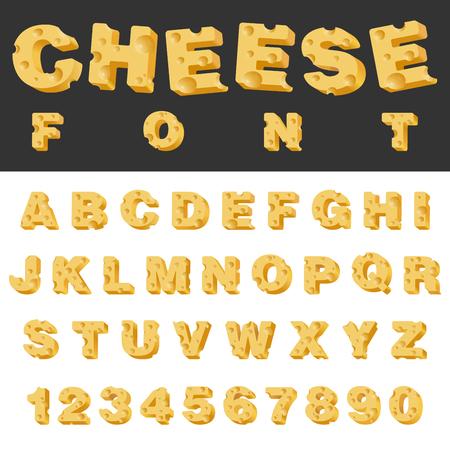 geïsoleerde slice kaas letters en cijfers latin lettertype. Lekker eten snack gezet alfabet collectie. Stock Illustratie