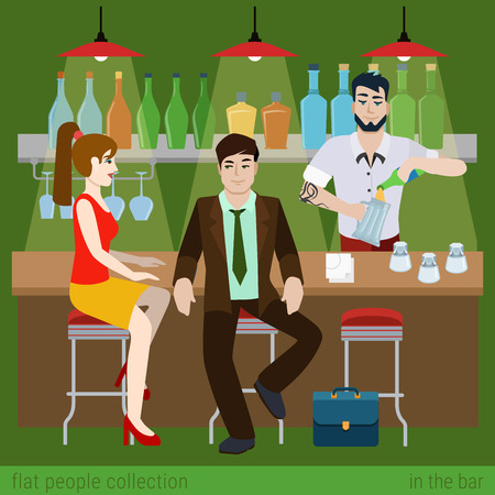 boy and girl: Young couple men women boy girl in the bar counter and barman fill beer glass. Flat people lifestyle situation concept. Vector illustration collection of young creative humans.