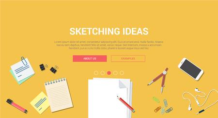 idea sketch: Mockup modern flat design concept creative idea sketch process