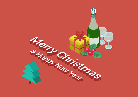 happy web: Flat 3d isometric Merry Christmas and Happy New Year web infographic concept vector. Bottle of champagne, glasses, cranberries, gift box, fir tree postcard template illustration.