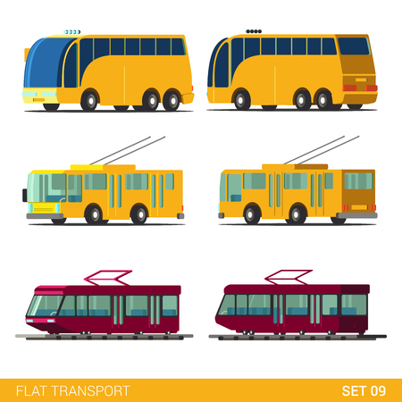 trolleybus: Flat 3d isometric high quality funny public city road transport icon set. Tourist route bus trolleybus tram. Build your own world web infographic collection.