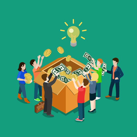 Business idea crowdfunding volunteer concept flat 3d web isometric infographic vector. Group of people putting money to box. Crowd funding process illustration. Creative people collection. Vettoriali