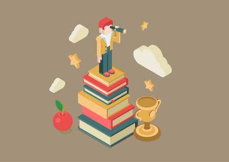 exam: Flat 3d isometric education future vision concept. Man looking through spyglass stands book heap, apple, clouds, stars, cup winner. Conceptual web illustration knowledge power meaning being educated.
