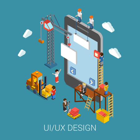 Flat 3d isometric mobile UI/UX design web infographic concept vector. Crane people creating interface on phone tablet. User interface experience, usability, mockup, wireframe development concept.