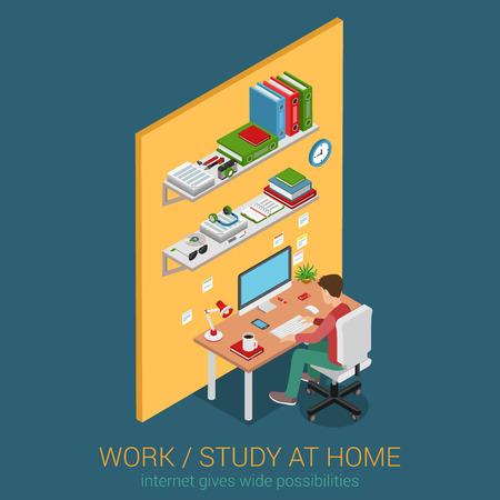ESTUDIANDO: Trabajo y estudio en el lugar de trabajo en casa plana 3d web isométrica vector de concepto de infografía. Joven adolescente estudiante masculino que trabaja el aprendizaje con mesa de escritorio de la computadora de escritorio de interiores. Colección de la gente creativa. Vectores