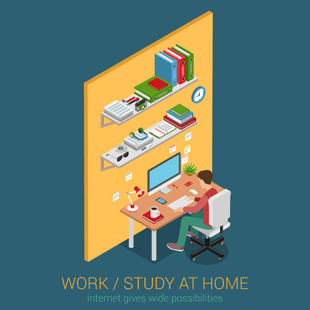 studying: Work and study at home workplace flat 3d web isometric infographic concept vector. Young male student teenager working learning with desktop computer desk table interior. Creative people collection.