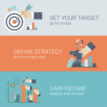 Flat style business success strategy target infographic concept. Hand with bow arrow scoop aim, chess figure horse money graphic, income chart bar arm stretching web site icon banners templates set. Illustration