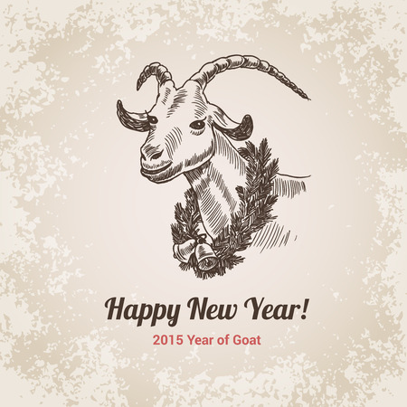 2015 Goat Chinese New Year symbol hand drawn engraving style template for postcard, poster, banner. Pen and pencil crosshatch paper drawing. Retro and vintage vector lineart illustration.