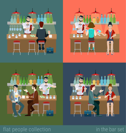 bar counter: Set of young men women boy girl in the bar counter and barman cocktail drink preparation. Flat people lifestyle situation concept. Vector illustration collection of young creative humans.