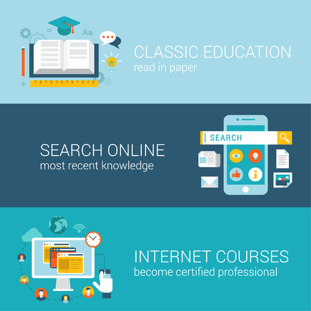 wiki: Flat style odern education infographic concept. Classic library book reading, online wiki search, internet course certification web site icon banners templates set. Template for parallax scroller. Illustration