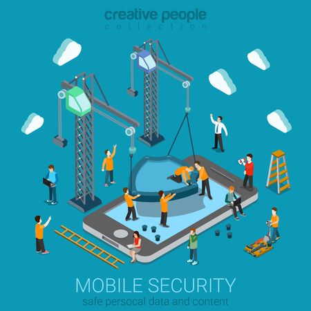 mobile security: Micro people installing huge shield on smartphone. Flat 3d web isometric mobile online safety data protection secure connection cryptography antivirus firewall internet security infographic concept. Illustration