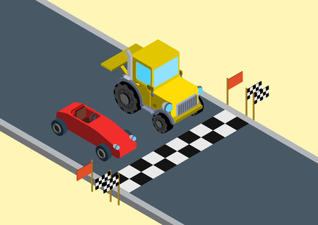 sports track: Flat 3d isometric funny race competition parody web infographic concept vector. Sports car bolide versus tractor on race track start line. Illustration
