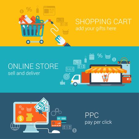 compras: Carro de compras, tienda en línea, pago por concepto de estilo plano clic Vectores