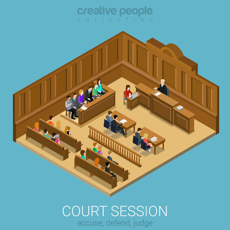 jurado: Corte sesión del jurado sala de concepto plana 3d web isométrica vectorial infografía. La gente en la escucha auditiva para dar conferencias maestro. Colección de la gente creativa.