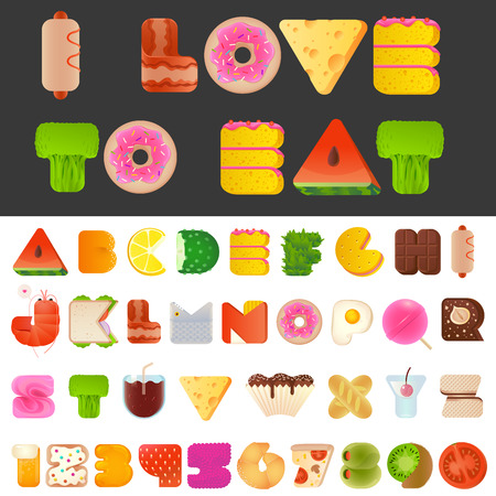 Stylish yummy funny food letters and numbers latin font. Snack A to Z typeset alphabet collection. Modern style typography elements everyone would like to eat. 向量圖像