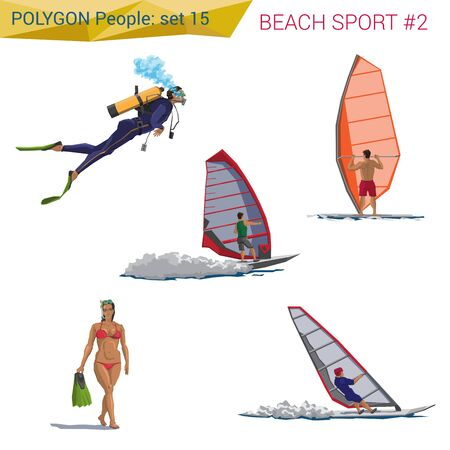 Polygonal style beach people walking set. Polygon people collection. Illustration