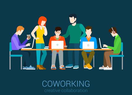 Coworking banda plana concepto infografía vector. Grupo de personas co-trabajar junto a la mesa. Proceso de trabajo agencia de Office. Colección de la gente creativa.