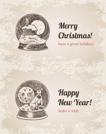 Crystal ball house elk set Christmas New Year handdrawn engraving style template postcard poster banner print. Web site pen pencil crosshatch hatching paper painting retro vintage vector lineart illustration. Illustration