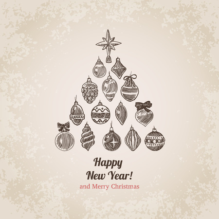 crosshatch: Christmas tree decorations set New Year handdrawn engraving style postcard template. Pen pencil crosshatch hatching paper drawing retro vintage vector lineart illustration.